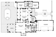 Mediterranean Style House Plan - 3 Beds 4.5 Baths 4509 Sq/Ft Plan #1058-14 Floor Plan - Main Floor