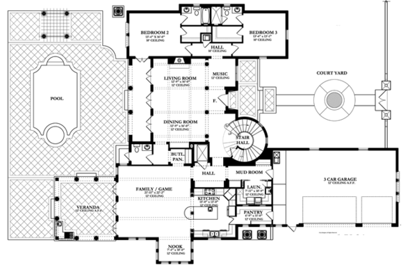 Mediterranean Floor Plan - Main Floor Plan Plan #1058-14