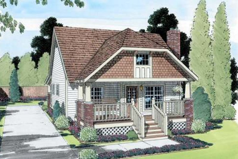 Bungalow Style House Plan - 2 Beds 1.5 Baths 964 Sq/Ft Plan #312-596