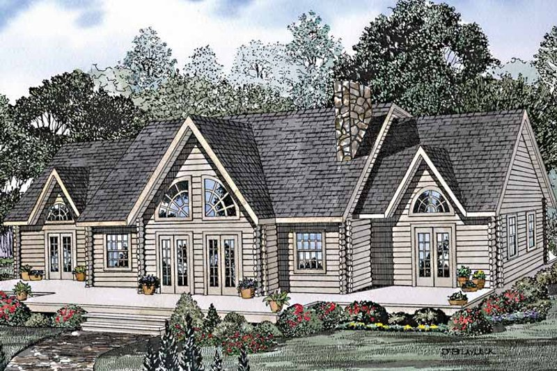 Log Exterior - Front Elevation Plan #17-3213 - Houseplans.com
