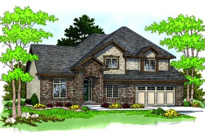 Traditional Style House Plan - 4 Beds 2.5 Baths 2420 Sq/Ft Plan #70-388 Exterior - Front Elevation