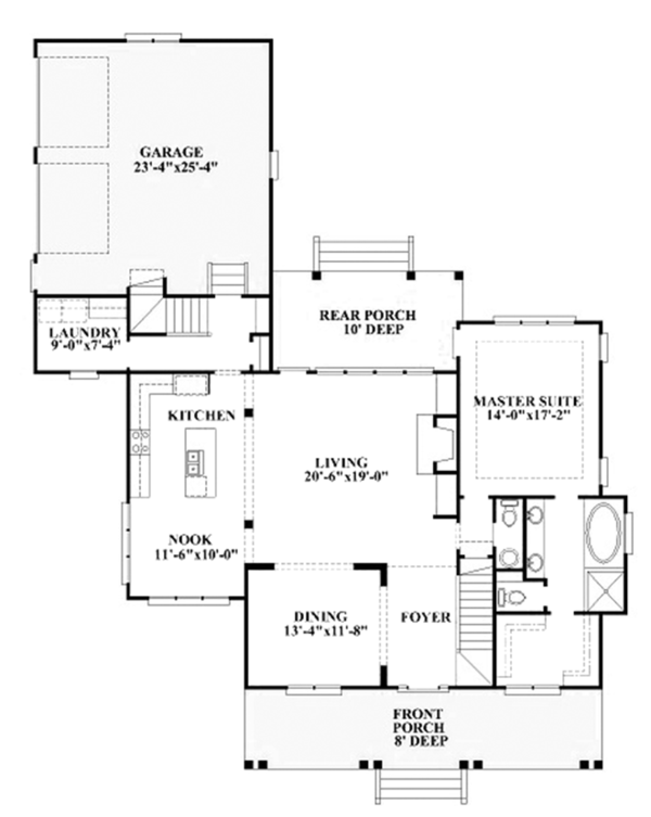 Colonial Floor Plan - Main Floor Plan Plan #991-26