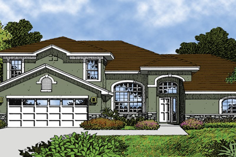 Mediterranean Exterior - Front Elevation Plan #417-595