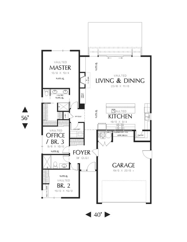 Modern Floor Plan - Main Floor Plan Plan #48-597