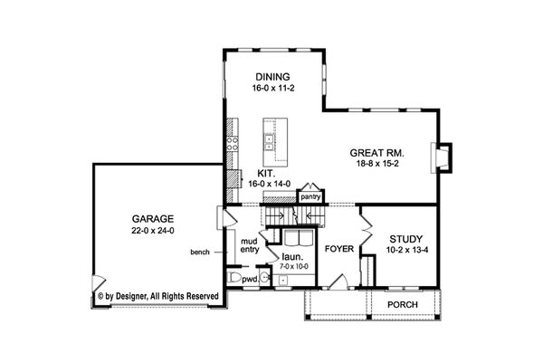 Colonial Floor Plan - Main Floor Plan Plan #1010-215