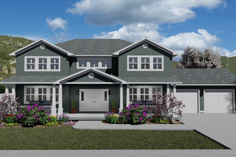 Architectural House Design - Craftsman Exterior - Front Elevation Plan #1060-55