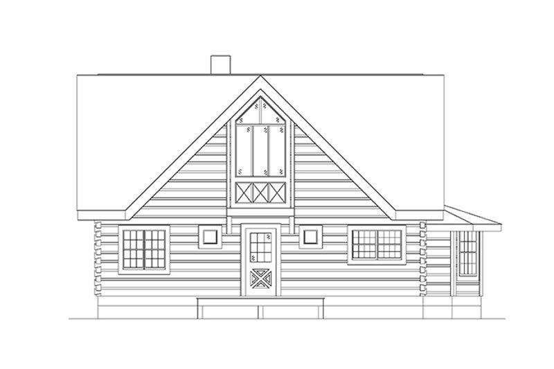 Log Exterior - Rear Elevation Plan #17-3133 - Houseplans.com