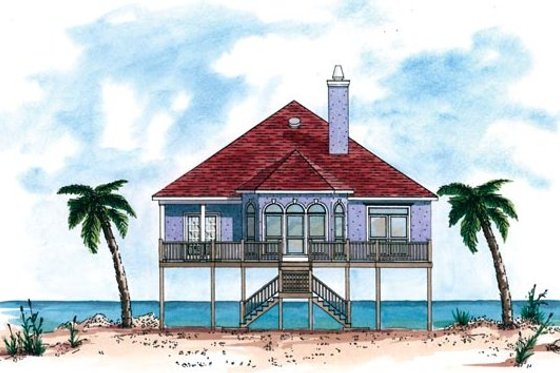 Beach Exterior - Front Elevation Plan #37-144