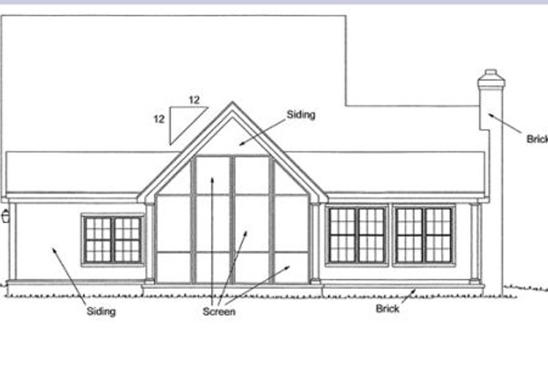 Country Exterior - Rear Elevation Plan #20-162 - Houseplans.com