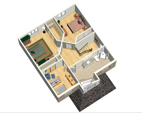 European Style House Plan - 3 Beds 1 Baths 1740 Sq/Ft Plan #25-4698 Floor Plan - Upper Floor Plan