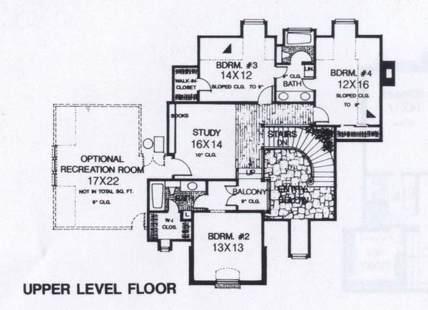 Colonial Floor Plan - Upper Floor Plan #310-950