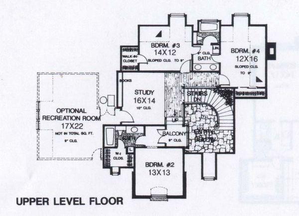 Colonial Floor Plan - Upper Floor Plan #310-950