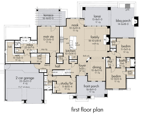 Farmhouse Floor Plan - Main Floor Plan Plan #120-264