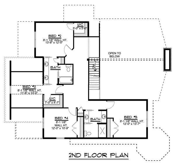 Craftsman Floor Plan - Upper Floor Plan Plan #1064-11