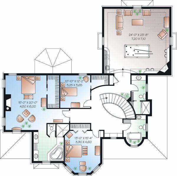 European Floor Plan - Upper Floor Plan Plan #23-844
