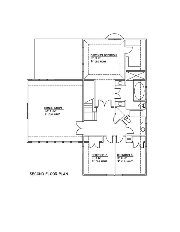 Country Style House Plan - 3 Beds 3.5 Baths 2700 Sq/Ft Plan #481-6 Floor Plan - Upper Floor Plan