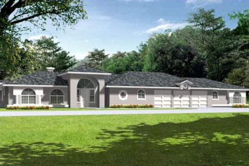 Adobe / Southwestern Style House Plan - 3 Beds 4 Baths 3176 Sq/Ft Plan #1-786 Exterior - Front Elevation