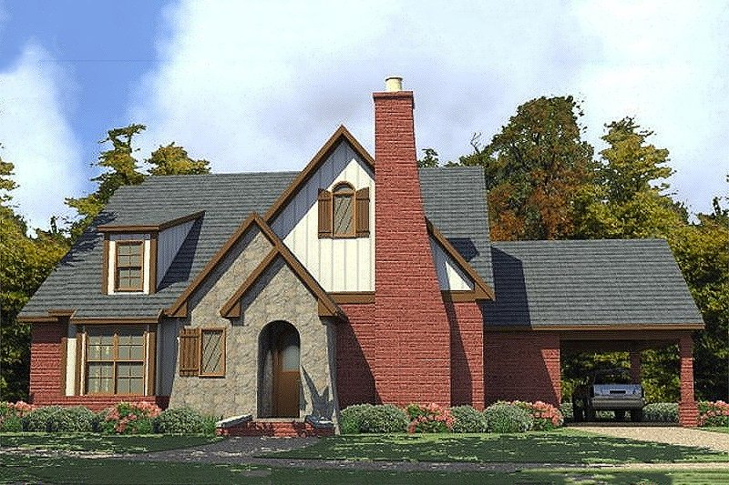 Cottage Style House Plan - 3 Beds 2 Baths 1809 Sq/Ft Plan #63-396 Exterior - Front Elevation