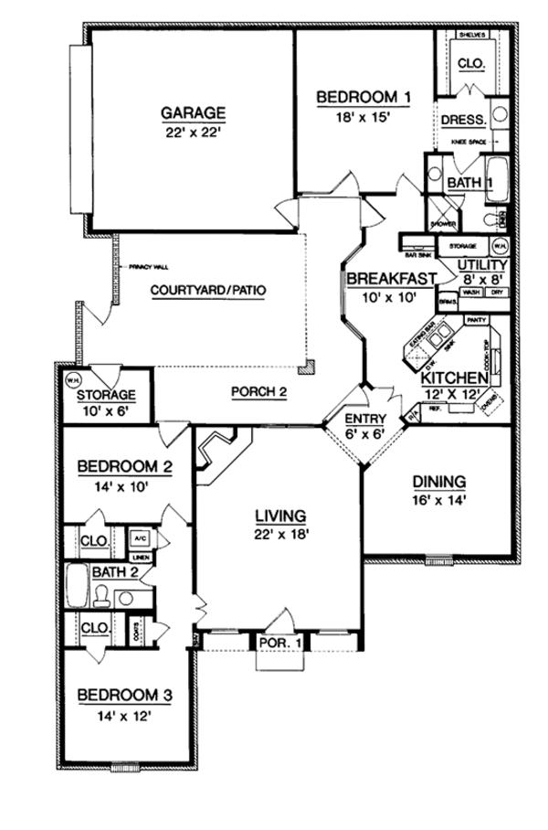 Country Floor Plan - Main Floor Plan Plan #45-478