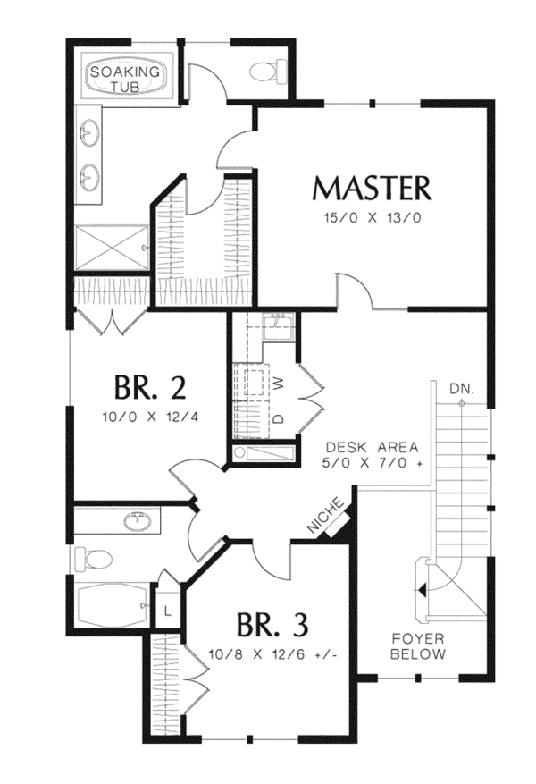 Craftsman Floor Plan - Upper Floor Plan Plan #48-907