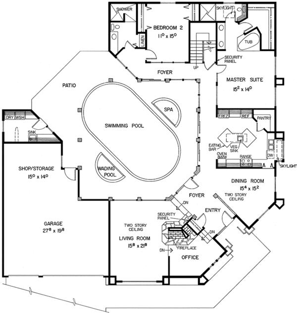 Mediterranean Floor Plan - Main Floor Plan Plan #60-782