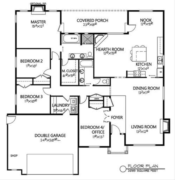 Traditional Floor Plan - Main Floor Plan Plan #133-106