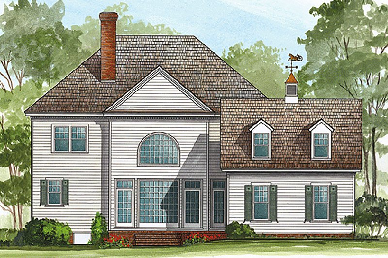 Southern Exterior - Rear Elevation Plan #137-118 - Houseplans.com