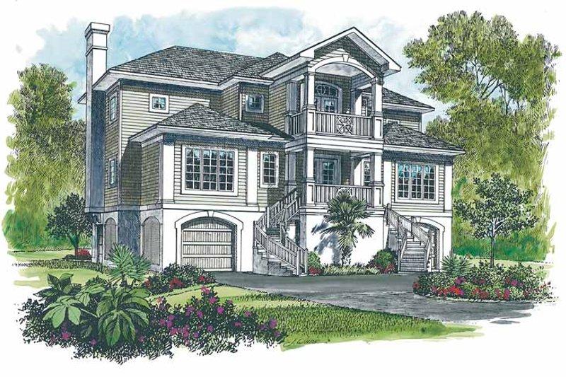 House Plan Design - Mediterranean Exterior - Front Elevation Plan #453-266
