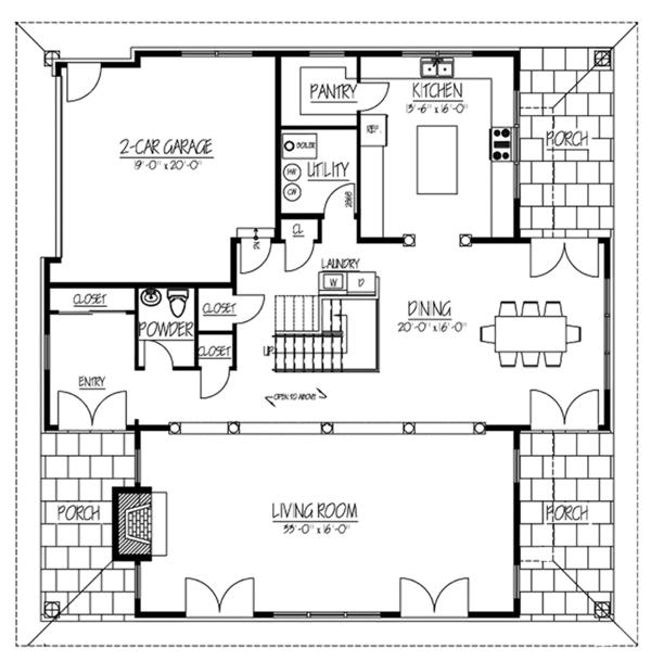 Contemporary Floor Plan - Main Floor Plan Plan #1061-7