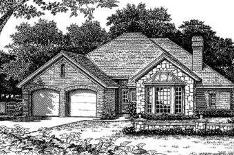 European Style House Plan - 4 Beds 2 Baths 1917 Sq/Ft Plan #310-159 Exterior - Front Elevation