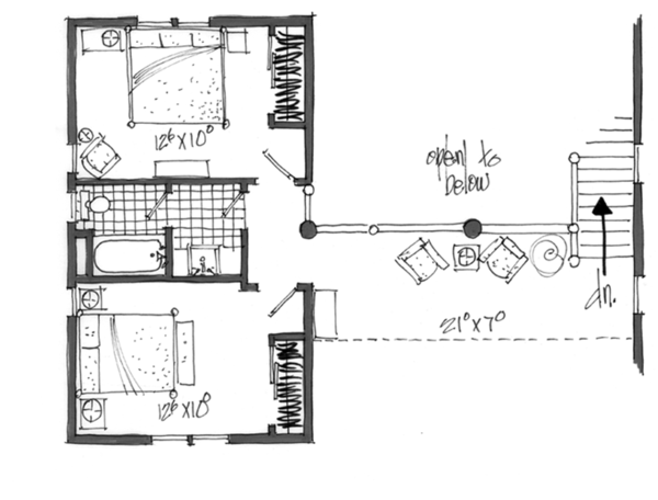 Log Floor Plan - Upper Floor Plan Plan #942-23