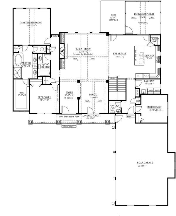 House Plan Design - Craftsman Floor Plan - Main Floor Plan #437-60