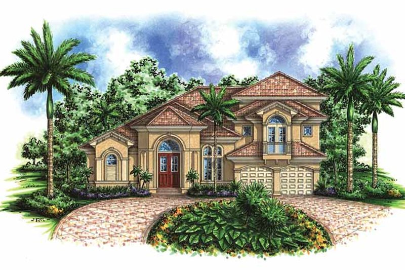Mediterranean Exterior - Front Elevation Plan #1017-34