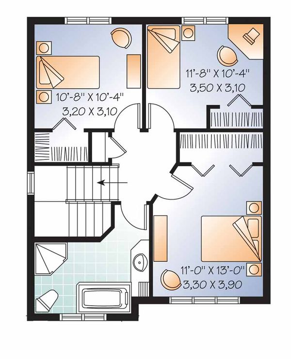 Country Floor Plan - Upper Floor Plan Plan #23-2552