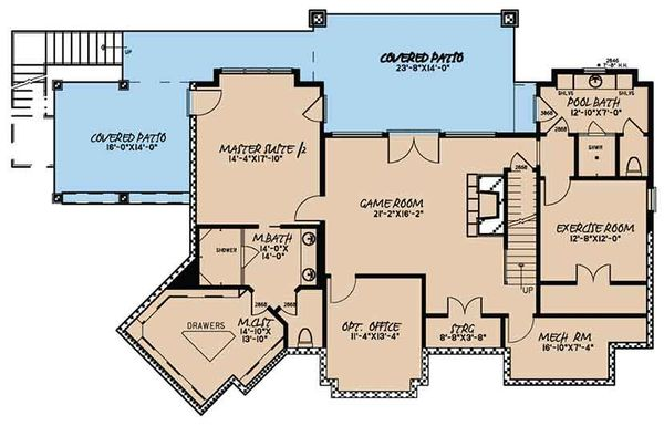 Craftsman Floor Plan - Lower Floor Plan Plan #17-3397