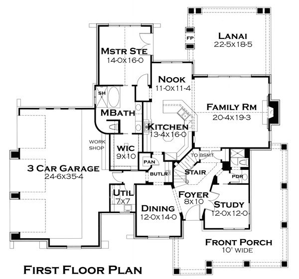 Craftsman Floor Plan - Main Floor Plan Plan #120-179