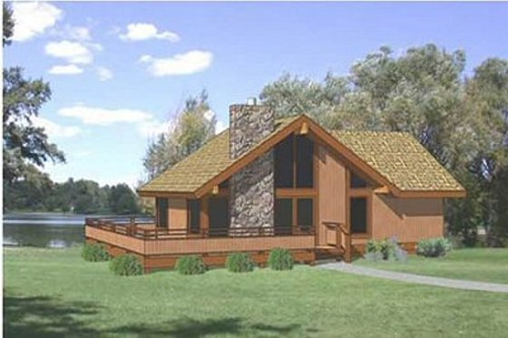 Cabin Exterior - Front Elevation Plan #116-104