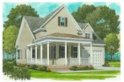 Country Style House Plan - 2 Beds 2 Baths 1539 Sq/Ft Plan #413-786 Exterior - Front Elevation
