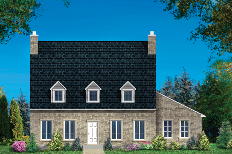 Colonial Style House Plan - 3 Beds 1 Baths 2250 Sq/Ft Plan #25-4859 Exterior - Front Elevation