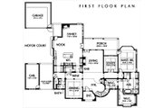European Style House Plan - 4 Beds 5.5 Baths 5900 Sq/Ft Plan #449-3 Floor Plan - Main Floor Plan