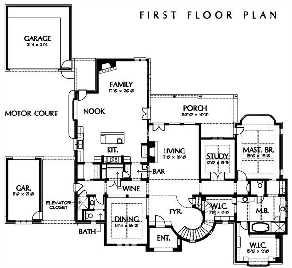 European Floor Plan - Main Floor Plan Plan #449-3