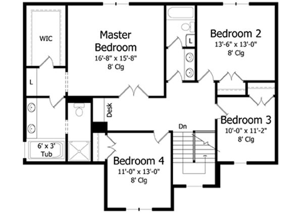 Traditional Floor Plan - Upper Floor Plan Plan #51-402