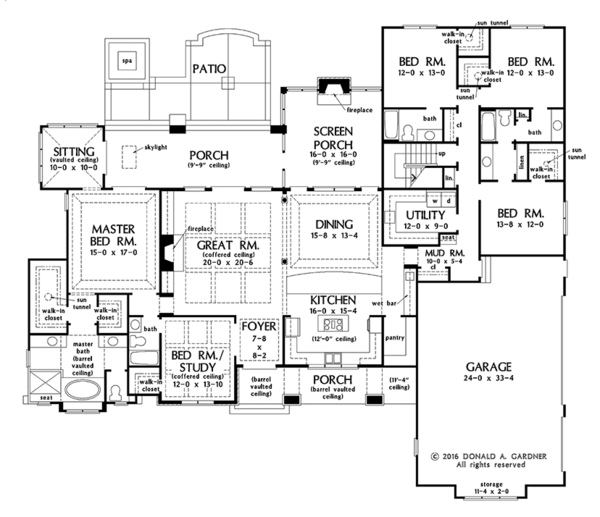 European Floor Plan - Main Floor Plan Plan #929-1009