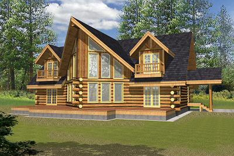 Log Style House Plan - 3 Beds 2.5 Baths 2870 Sq/Ft Plan #117-507 Exterior - Front Elevation