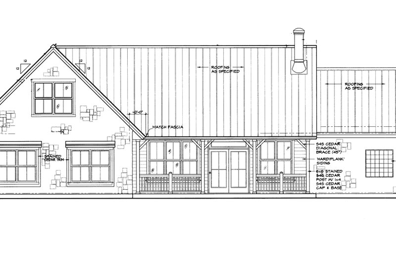 Home Plan - Country Exterior - Rear Elevation Plan #140-170