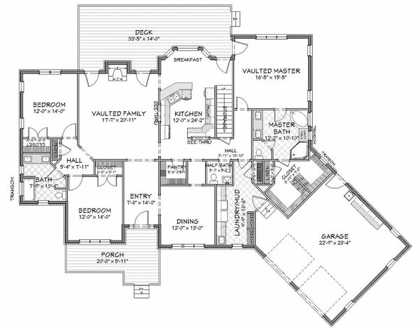 Craftsman Floor Plan - Main Floor Plan Plan #898-2