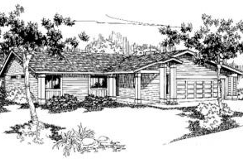 Ranch Style House Plan - 3 Beds 2 Baths 1642 Sq/Ft Plan #60-332 Exterior - Front Elevation