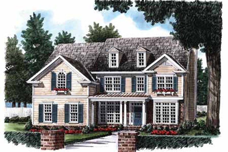 Colonial Exterior - Front Elevation Plan #927-953