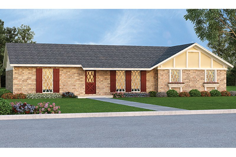 Ranch Exterior - Front Elevation Plan #45-555