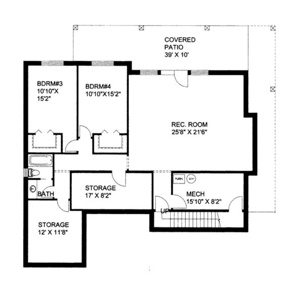 Craftsman Floor Plan - Lower Floor Plan Plan #117-859